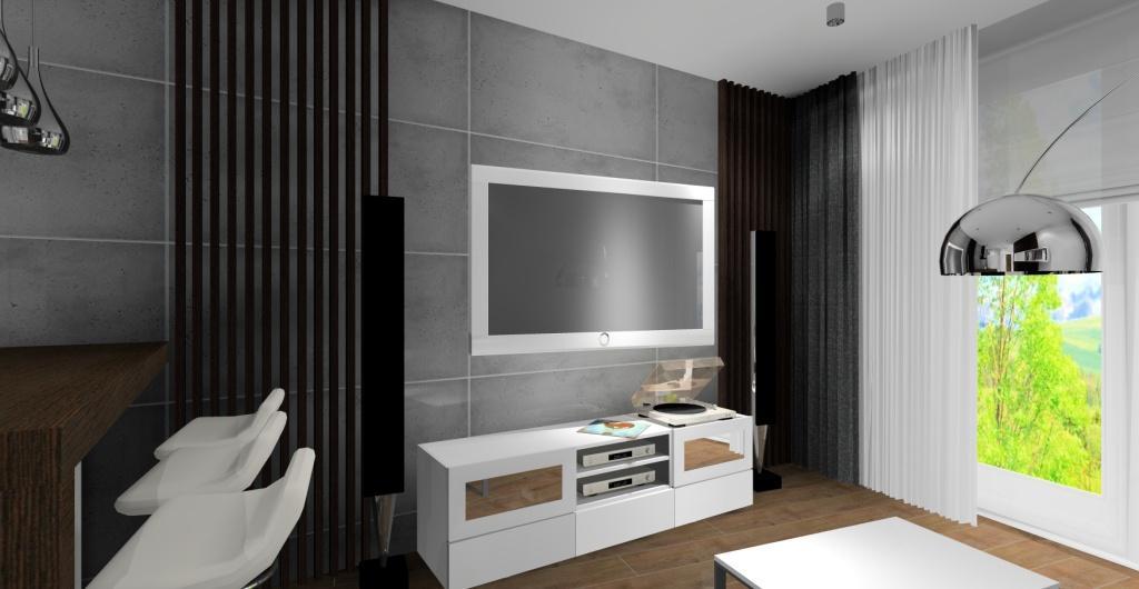 Projektowanie mieszkań, aranżacja mieszkania w stylu nowoczesnym salon widok na ścianę z telewizorem, płyty betonowe, panele drewniane, szafka rtv biała