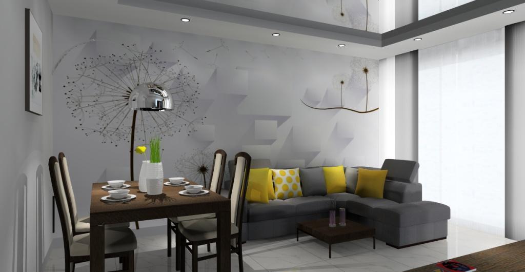 Szary salon : projekty , aranżacje wnętrz, dodatki żółte poduszki, drewniane meble