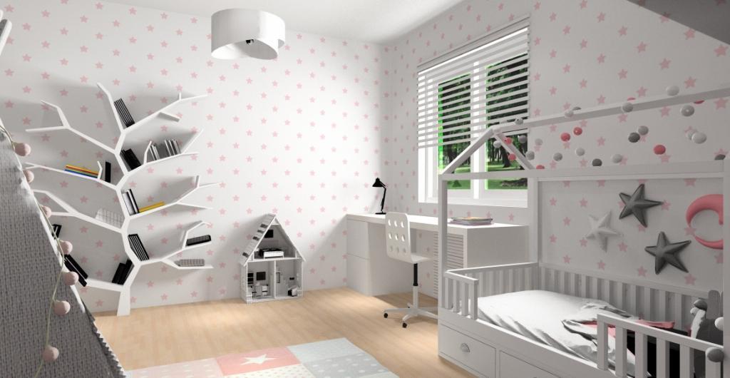 Pokój dla dziecka, Aranżacja pokoju dla dziewczynki, widok na ścianę z tapetą biało różową łóżkiem domek, drzewo na książki, biurko białe