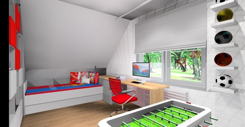 Aranżacja pokoju dziecięcego – pokój dla chłopca, projekt pokoju piłkarskiego, kolory biały, szary, czerwony, niebieski
