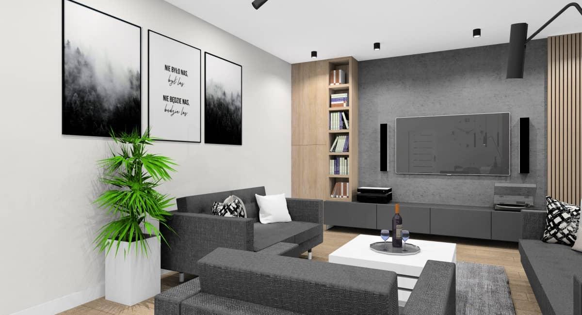 Aranżacja salonu , dwie sofy IKEA LANDSKRONA, czarno białe plakaty na ścianie za sofą, beton na ścianie RTV