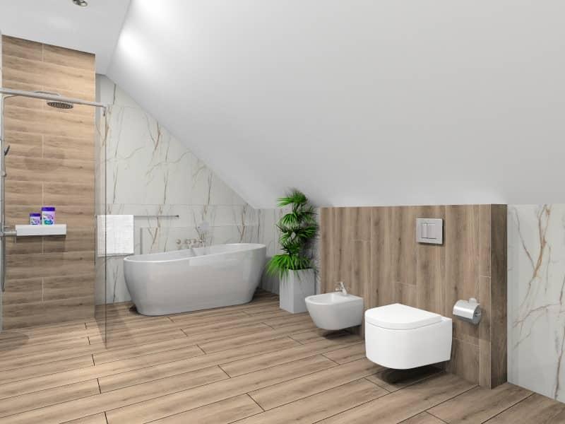 Łazienka na poddaszu z wanną i prysznicem. Nowoczesna aranżacja wnętrza