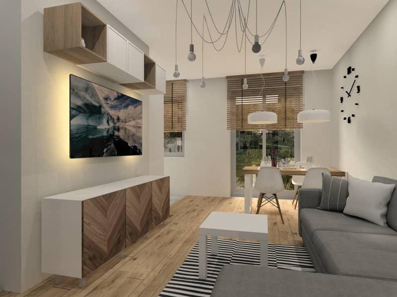 Mieszkanie na wynajem. Projekt i aranżacja mieszkania 28 m2, widok na salon, ścianę RTV, sofę narożną, przytulne ciepłe wnętrze