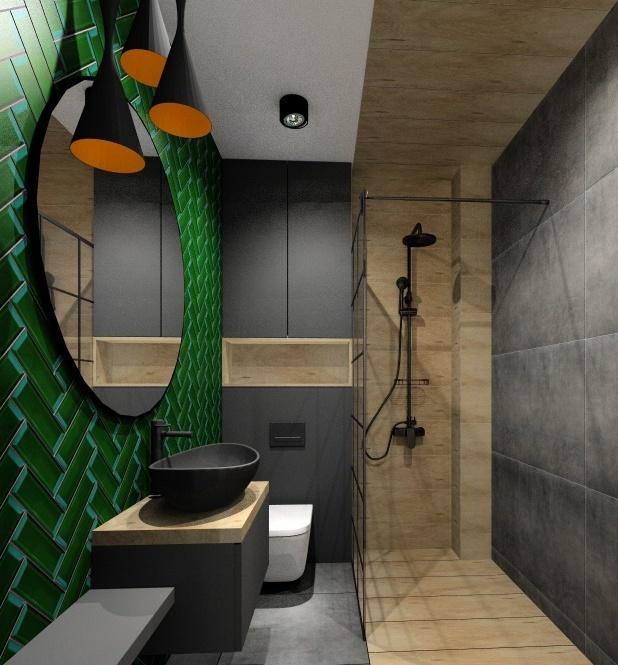 Mieszkanie w stylu industrialnym, wnętrze łazienki, płytki zielone, szare i drewno