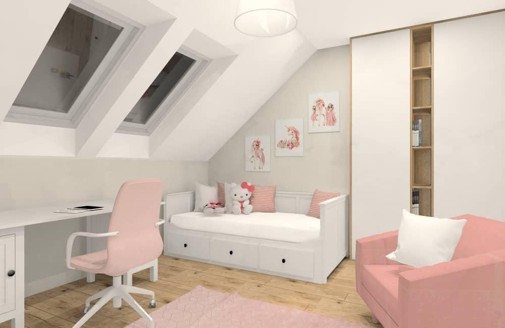 Pokój dla dziewczynki na poddaszu ze skosami. Aranżacja wnętrza
