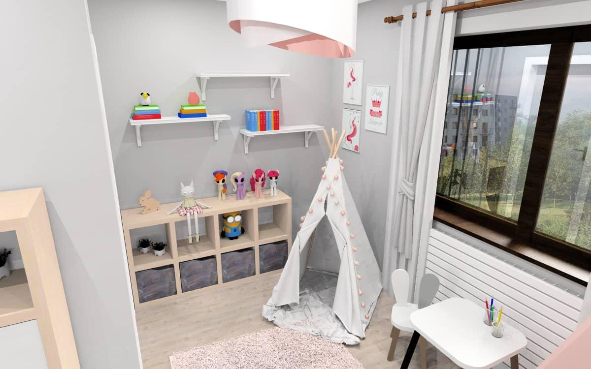 Pokój dziecięcy, dodatki, obrazki na ścianie, łżóko z baldachimiem, dywan pudrowy róż, namiot tipi, krzesełka z uszkami, półki otwarte białe
