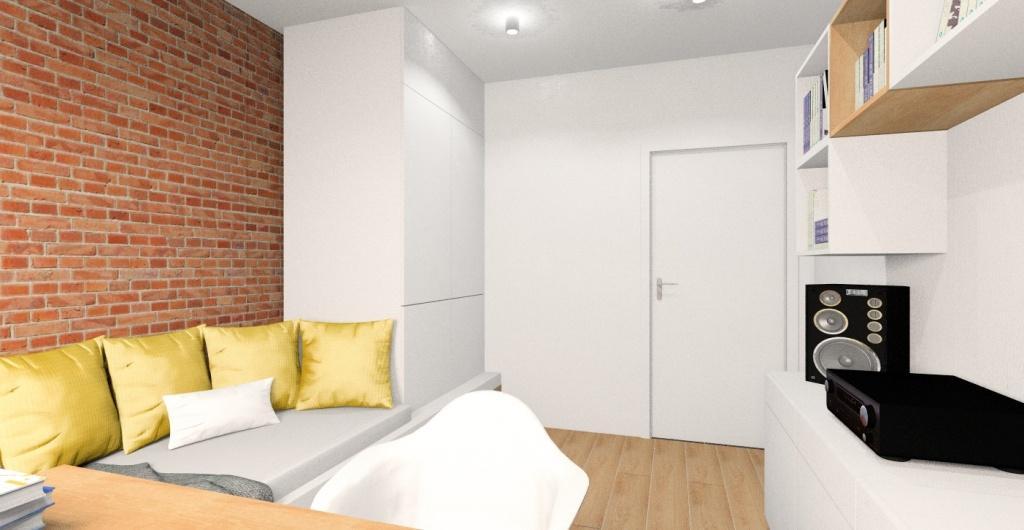 Pokój młodzieżowy dla nastolatka, widok na ścianę z cegłą łóżko szafę do sufitu