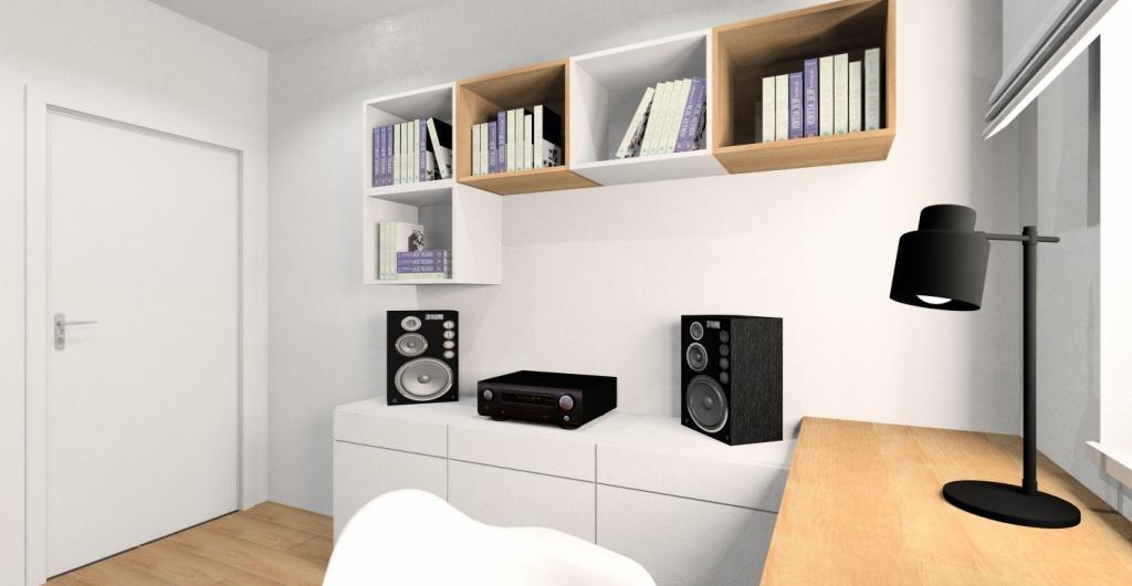 Pokój młodziezowy dla nastolatka, biały, szary, drewno, aranżacja wnętrza w stylu nowoczesnym