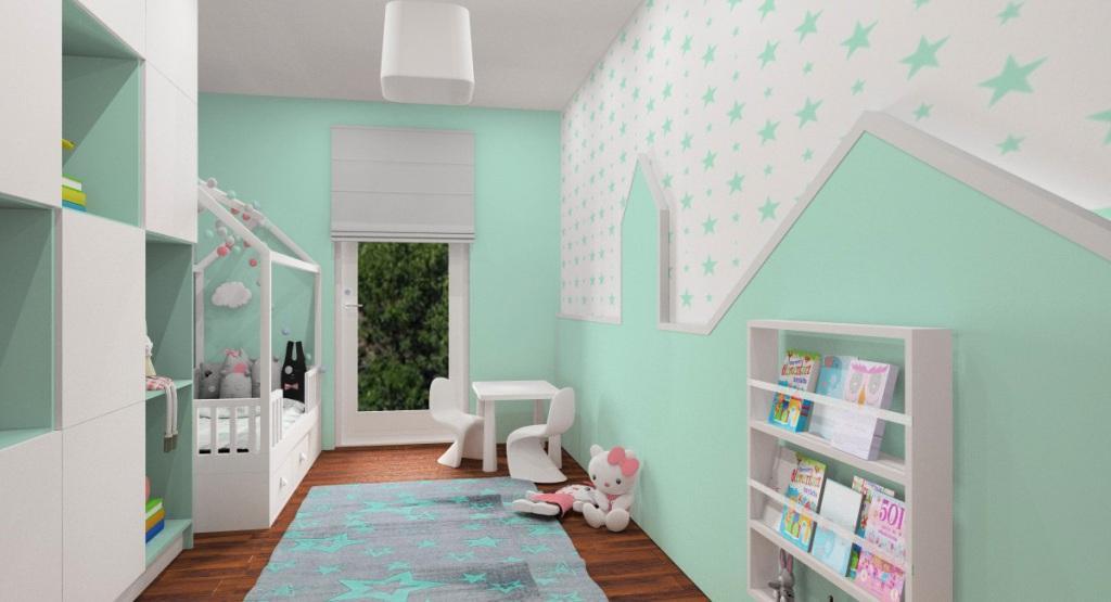 Aranzacja pokoju dziecięcego, szafa, regał na zabawki, dywan miętowo-szary, łóżko domek, tapeta a ścianie