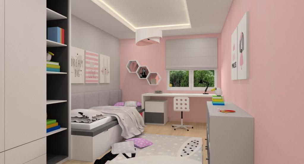 Pomysł na wnętrze pokoju dla dziewczynki: pudrowy róż, szarości i biel