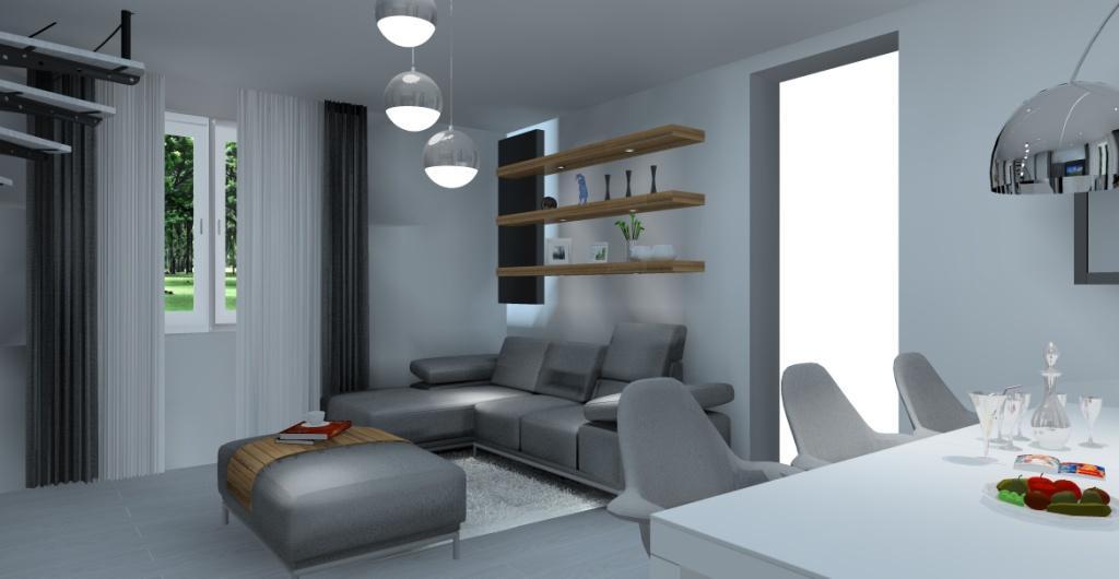Projekt salonu – aranżacja, urządzenie wnętrz, widok na ścianę z narożnikiem, pólki podświetlane na ścianie za naroznikiem, salon w kolorze szarym, biały i drewnie