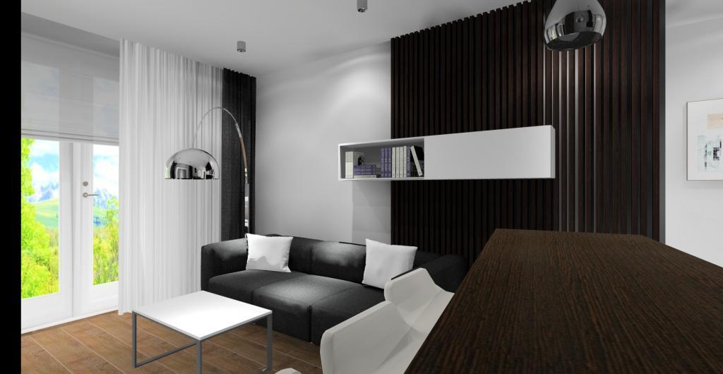 Projektowanie mieszkania, projekt salonu z kuchnią, widok na ścianę z sofą szarą, poduszki białe,i szafki nad sofą