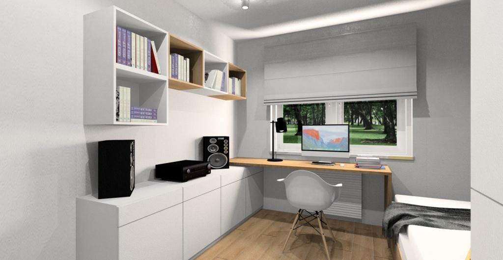 Projektowanie pokoju młodzieżowego, aranżacja pokoju w stylu nowoczesnym, widok na biurko szafki do przechowywania