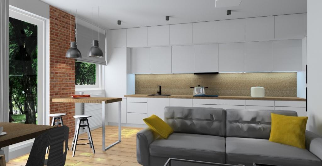 projektowanie wnetrz salon z kuchnia i przedpokoj