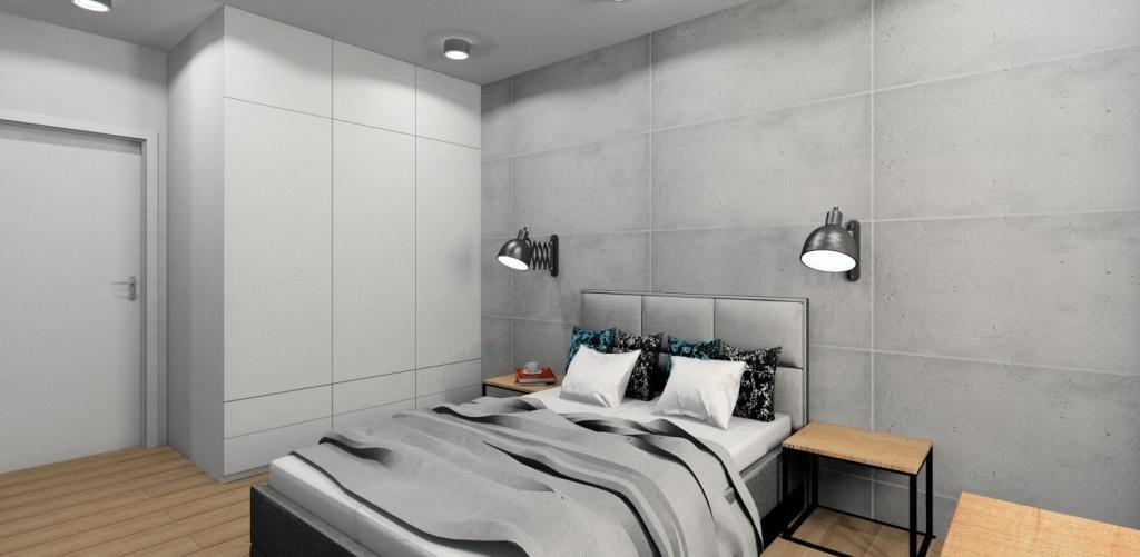 Projekt sypialni, aranżacja w stylu industrialny, widok na łózko i szafę, za łóżkem płyty betonowe