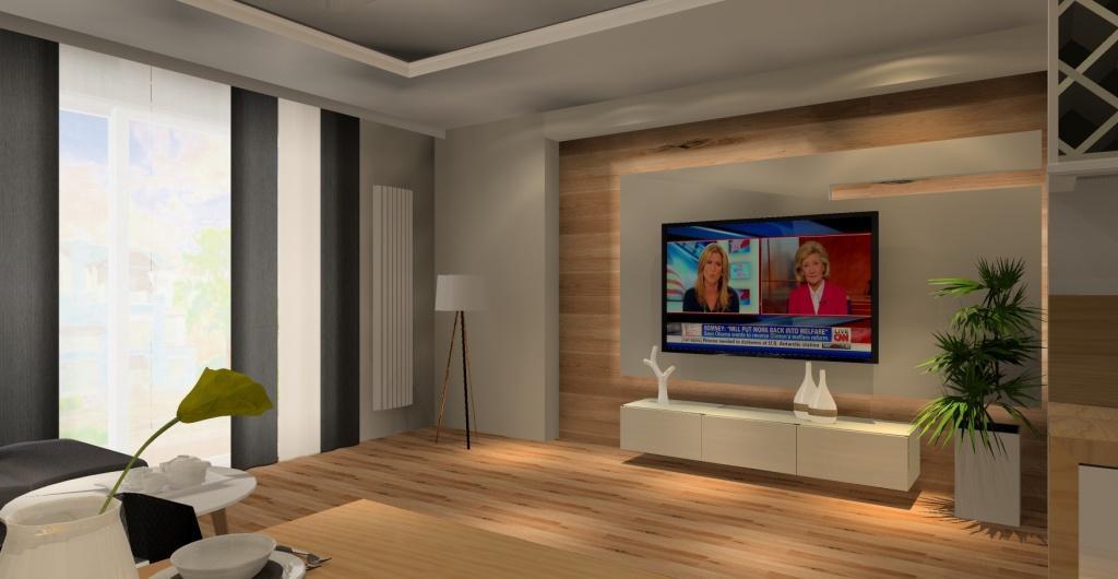 Projekt salonu z aneksem kuchennym, aranżacja styl nowoczesny, widok na salon zabudowę ściany RTV w drewnie, szafka RTV biała