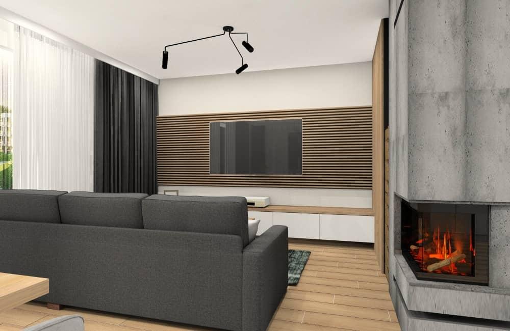 Salon z jadalnia, aranżacja ściany rtv, panele drewniane, kominek, beton na ścianie, dodatki czarnego i drewna