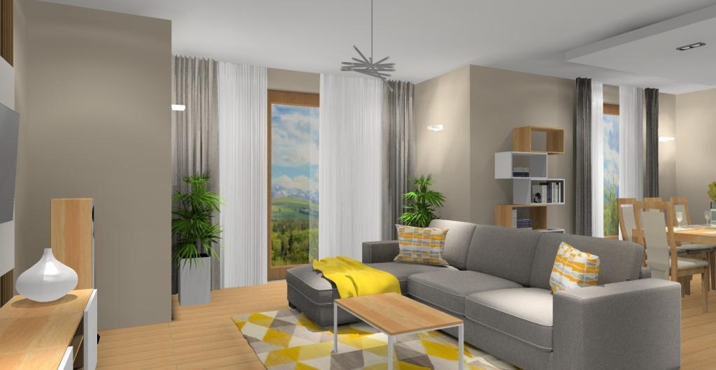 Salon z jadalnią, projekt wnętrza nowoczesnego, widok na jadalnie, sufit podwieszany, sofa narożna szara z dodatkami zółtego, szarego