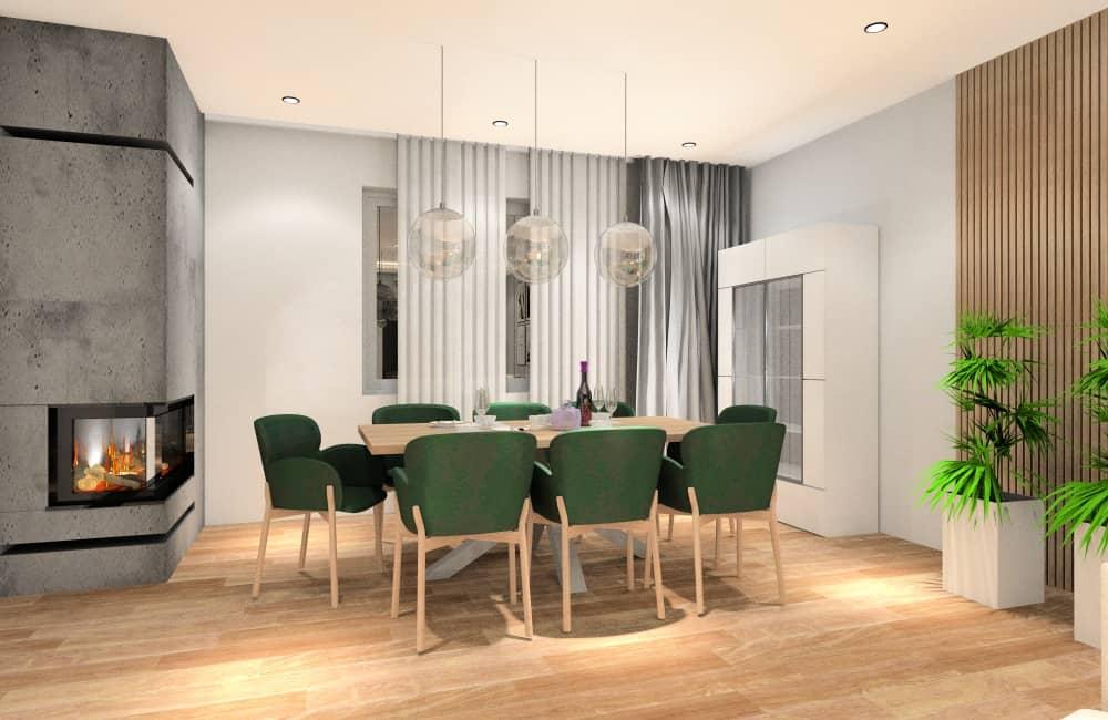 Salon z jadalnią, duży stół z krzesłami, witryna , kwiaty, kominek