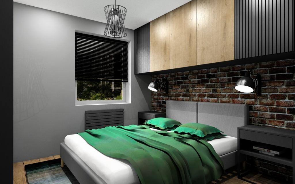 Sypialnia w stylu industrialnym, cegła na ścianie, łóżko szare z zagłówkiem, szafki nad łóżkiem w kolorze drewnianym i szarym
