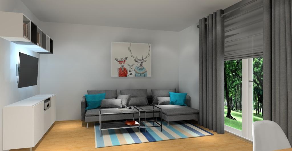 Szary salon, dodatki turkusowe poduszki, dywan turkusowy, meble białe