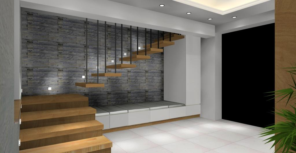 Przedpokój w stylu nowoczesnym, schody dywanowe, siedzisko pod schodami, przedpokój, biały, drewno, szary