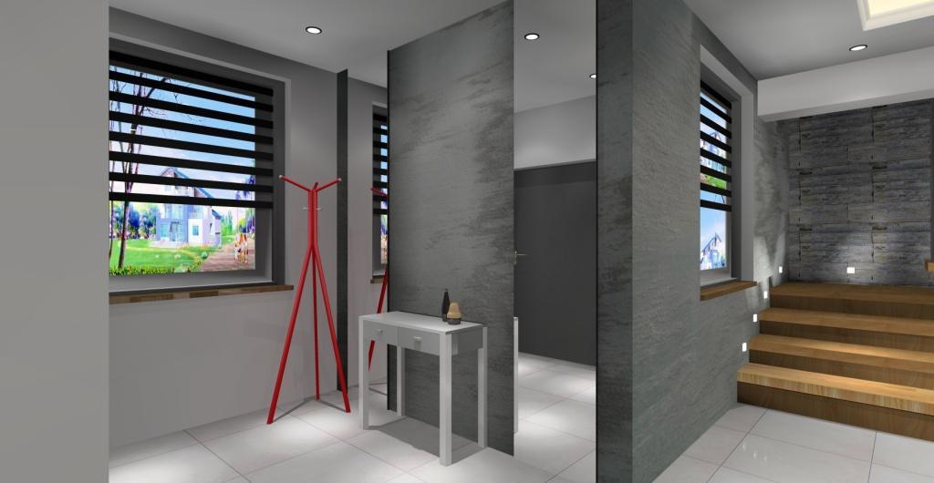 Projekt nowoczesnego przedpokoju, wieszak czerwony, lustra na ścianach, konsola do przedpokoju, dodatki czerowne do przedpokoju
