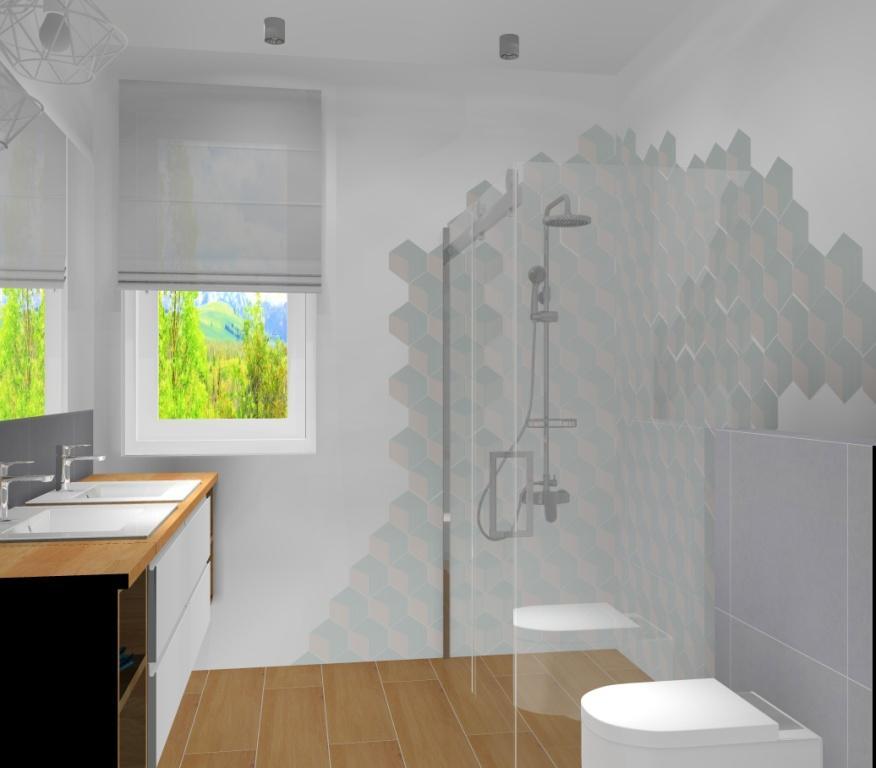 Aranżacja łazienki w stylu skandynawski, łazienka z prysznicem, biała, szara, drewno, płytki paradyż Esagon