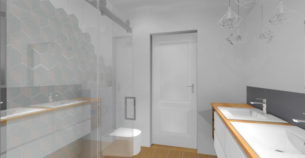 Aranżacja łazienki skandynawskiej z prysznicem, łazienka w kolorach biały, szary, drewno