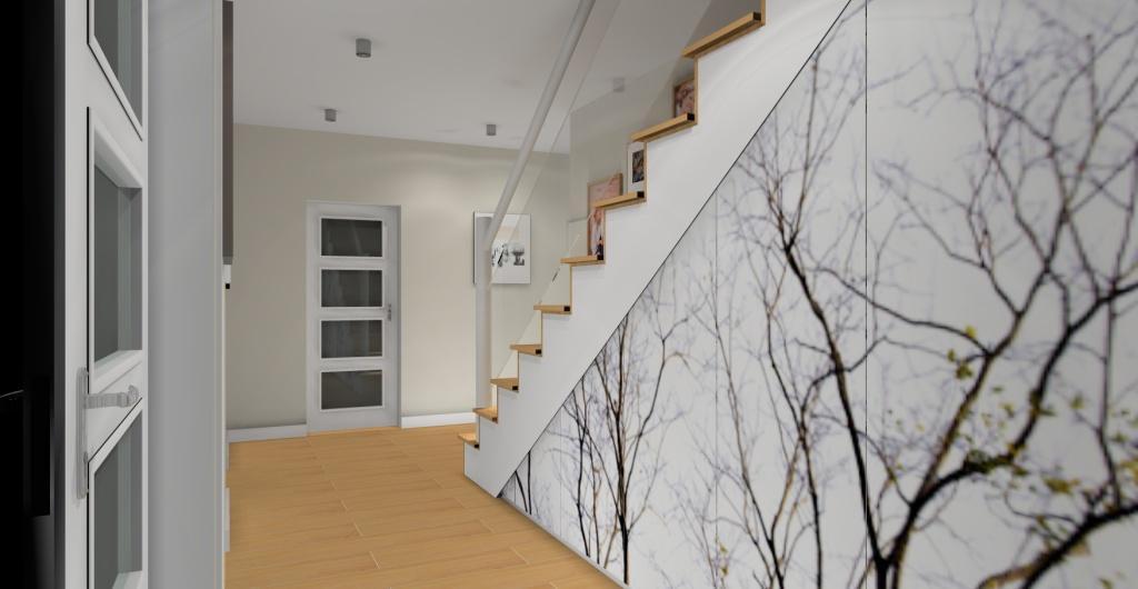aranżacja holu, szafy pod schodami w holu