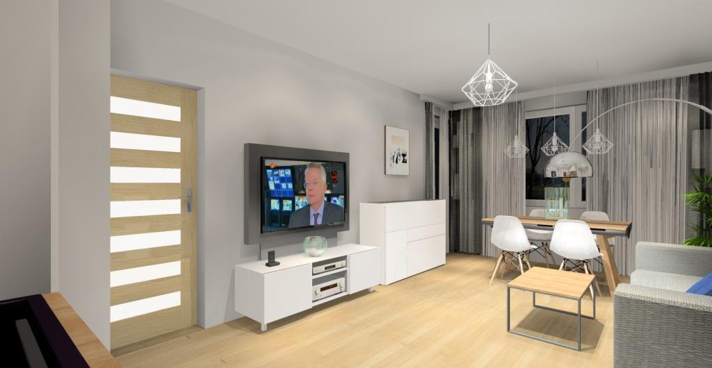 salon z kuchnią w stylu skandynawskim, biały,szary, drewno