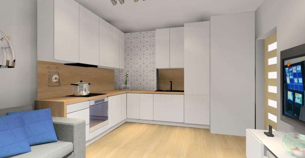 aranżacja kuchni z salonem w stylu skandynawskim, salon z kuchnią w kolorze biały, szarym, drewno, tapeta w kuchni skandynawska