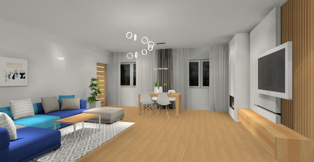 Salon, sofa, stolik kawowy skandynawski, salon w kolorach, biały, szary, drewno, dodatki turkus