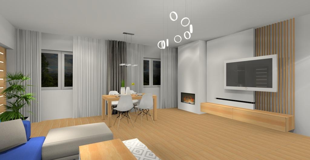 Aranżaca salonu, kominek, styl skandynawski, aranżacja ściany w salonie, salon aranżacje nowoczesne