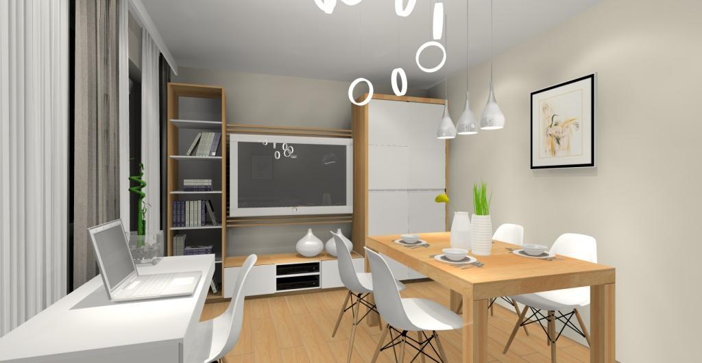 Aranżacja salonu w bloku styl skandynawski, biały, szary, drewno