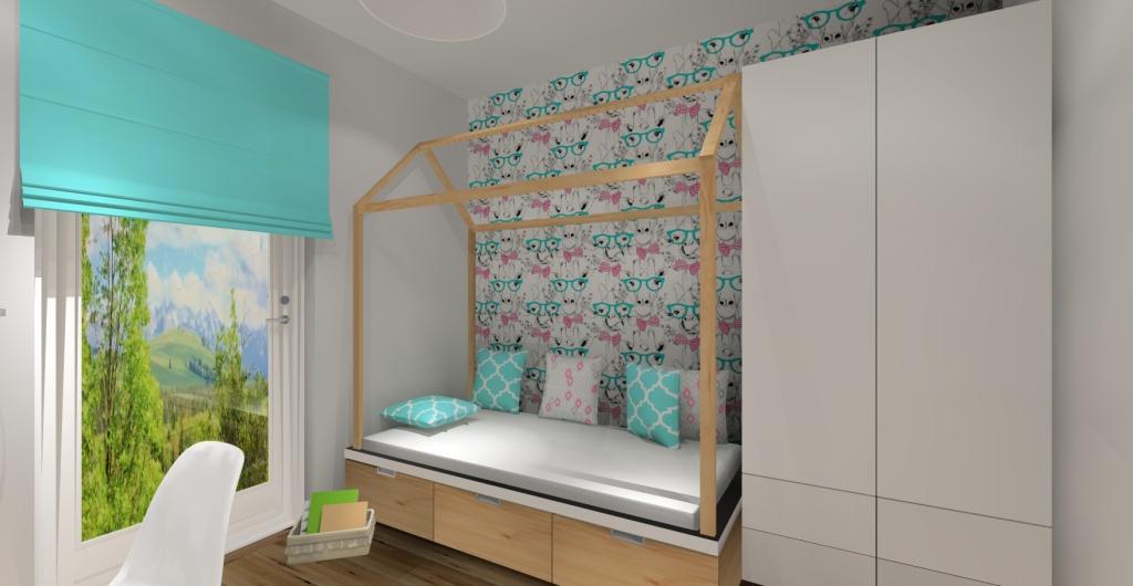 Mieszkanie, pokój dziecka, wnętrze skandynawskie, zdjęcie na łózko domek dla dziewczynki chłopca