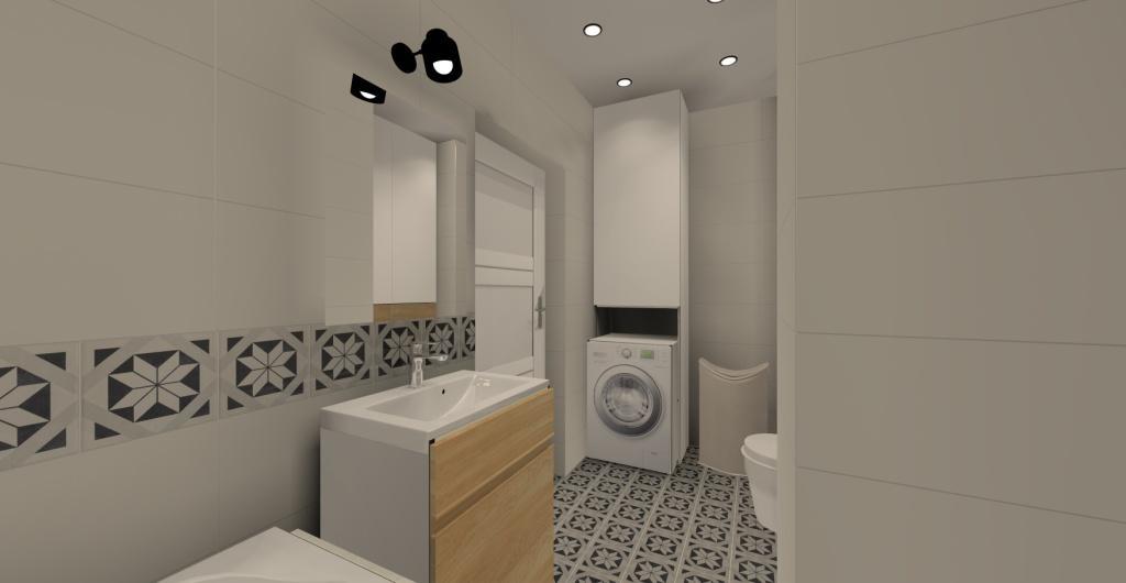 Mała łazienka z wanną, pralką, koszem na ubrania