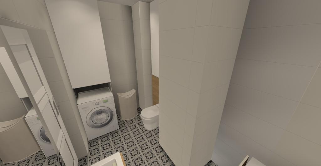 aranżacja łazienki w stylu skandynawskim, łazienka mała z wanną, biały, szary, drewno