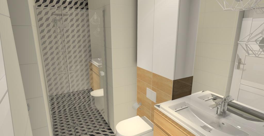 aranżacja małej łazienki z prysznicem w stylu skandynawskim, łazienka w kolorze biały, szary, drewno