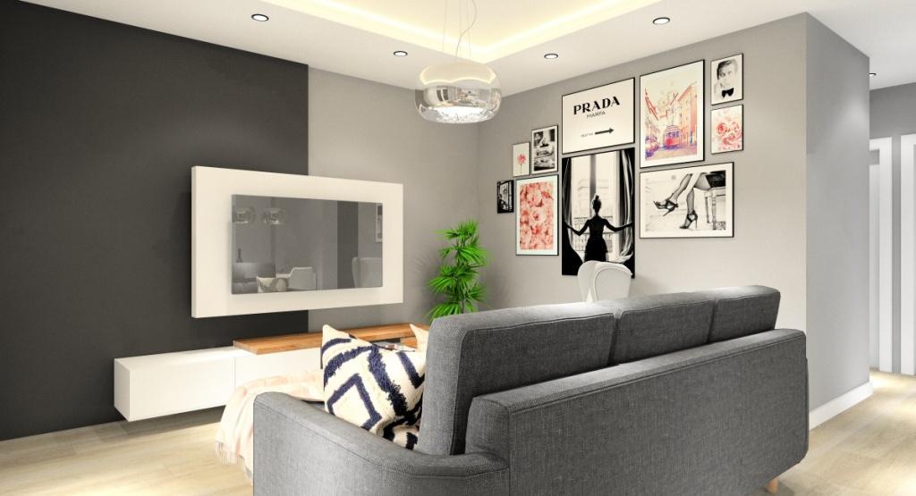 Komfortowa strefa wypoczynkowa w salonie, dwuosobowa sofa, fotel