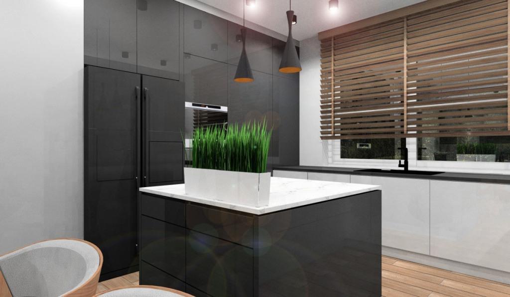 Kuchnia, aranżacja w stylu nowoczesny, czarne fronty lakierowane, wyspa czarna z białym blatem