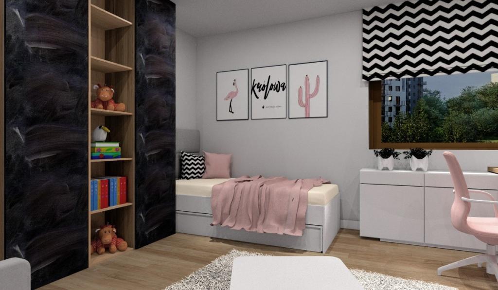 Pokój dla dziecka – pokój dla dziewczynki: pudrowy róż, biały, szary i drewno z dodatkiem czerni