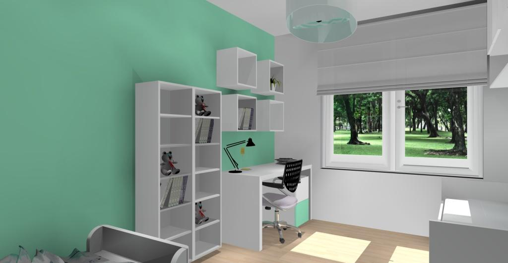 Projektowanie wnętrz - projekt pokoju dziecięcego widok na biurko i regały na książki