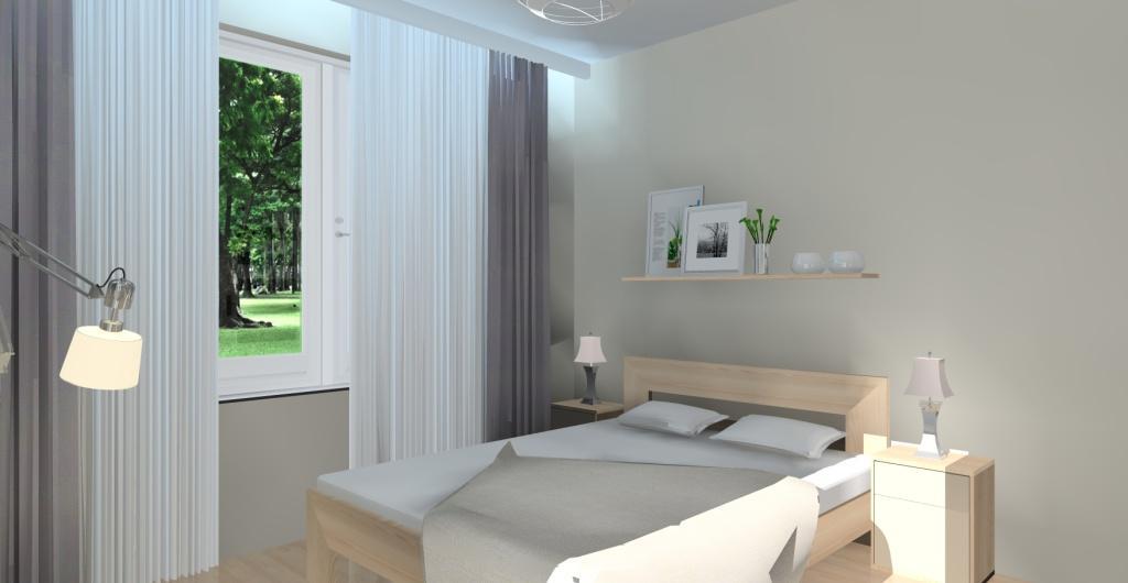 Projektowanie wnętrz - projekt sypialni, sypialnia w ciepłych kolorach, widok na łóżko i ścianę z półką na obrazy