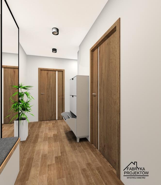 Aranżacja przedpokoju w bloku, kolory szary, czarny biały, drewno, sufit podwieszany, szafka z siedziskiem, wieszaki, szafka na buty