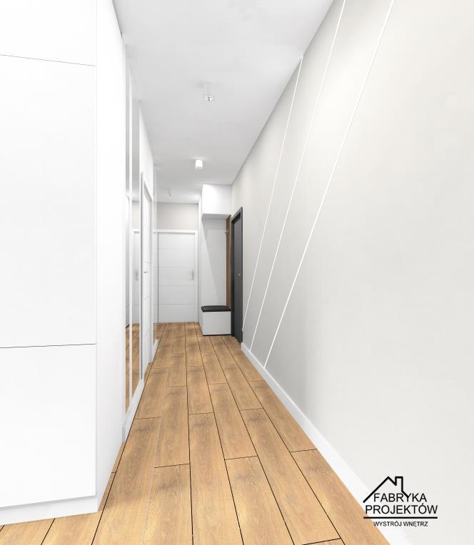 Bardzo wąski przedpokój w bloku, oświetlenie w ścianie, sufit podwieszany, mała szafa, lustra na ścianie powiększające optycznie przedpokój
