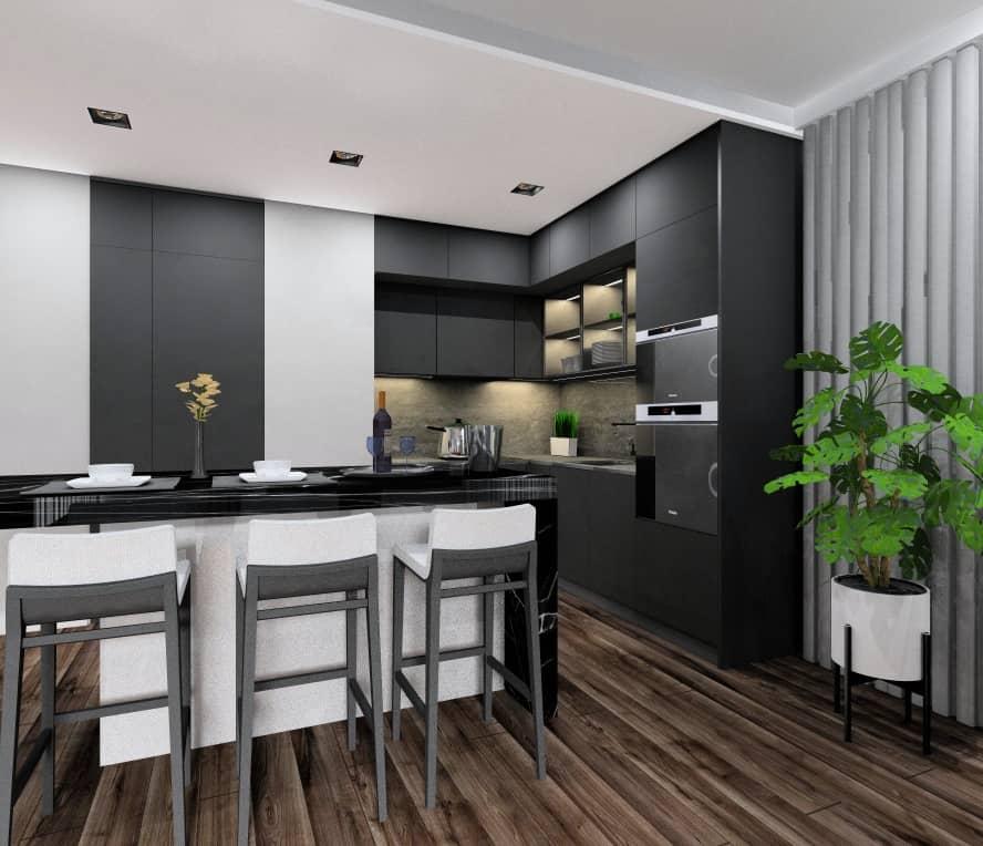 Czarna kuchnia, projekt wnętrz kuchni z wyspą