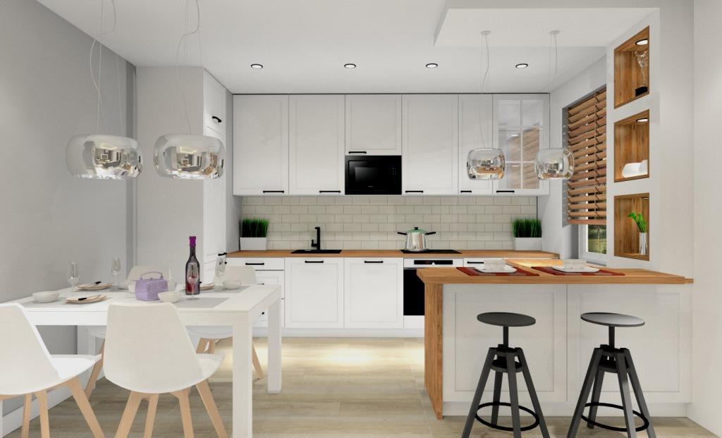 Funkcjonalny aneks kuchenny, Eleganckie szafki o białych frontach