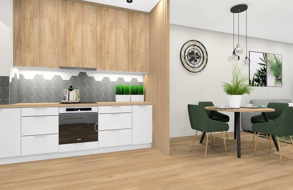 Kuchnia otwarta na salon , aranżacja wnętrza