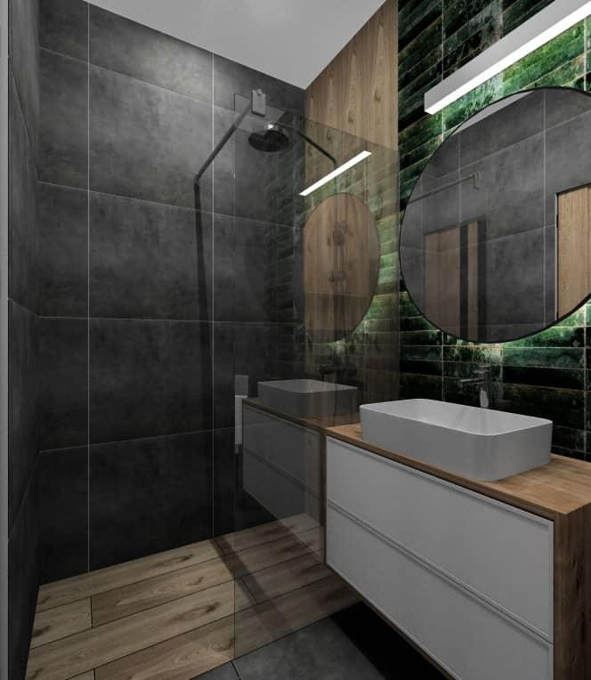 Łazienka w stylu loft w mieszkaniu w bloku